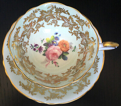 Vintage Paragon Light Green With Heavy Gold Filigree Cup And Saucer England