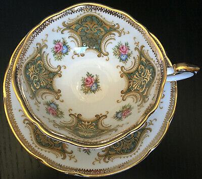 Paragon Cup And Saucer With Sage Green Panels And Heavy Gold Filigree Widemouth