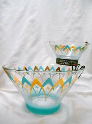 Retro MID CENTURY MODERN Atomic Geometric CHIP & DIP SET Turquoise Gold Shapes