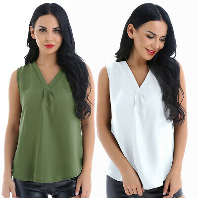 Women Loose V Neck Tank Vest Chiffon Casual Solid Blouse Shirt Tops Daily Wear