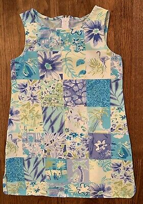 Bonnie Jean Tropical Lilly Floral Palm Tree Shift Dress Aqua Blue Girls Size 8