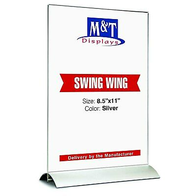 Acrylic Swing Sign Holder for Tabletop Advertising Display (8.5x11 Insert)