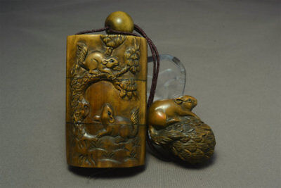 Wooden Rat Mouse Pinecone Inro Netsuke Ojime 石川 sign Japanese antique vintage