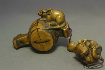Wooden Launch grommets Rat Mouse Inro Netsuke Ojime 玉山 sign Japanese antique