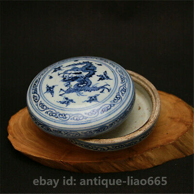 "4.9""Collect Chinese Jingdezhen Blue White Porcelain Dragon Pattern Round Ink Box"