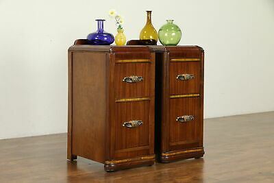 Pair Art Deco Vintage Nightstands, Bakelite Pulls #31099