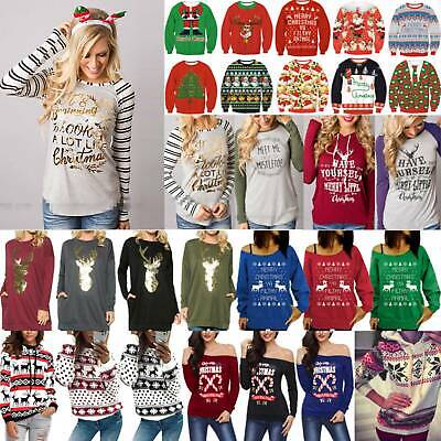 Ladies Sweatshirt Jumper Christmas Festival Hoodie Pullover Shirt Top Blouse New