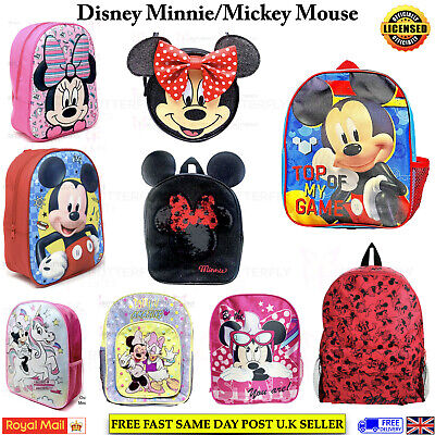Kids Boys Girls Disney Mickey Minnie Mouse Character Junior School Bag Backpack