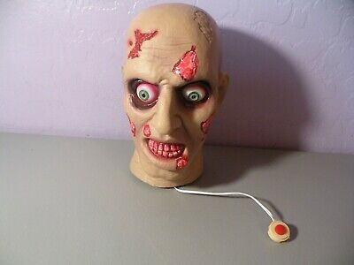Halloween Prop light up sound Effects Zombie Wounded head 7 Inch Tall Works