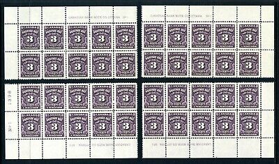 CANADA Scott J16B - NH - MS of Plate 1 - 3¢ Fourth Postage Due Issue (.053)