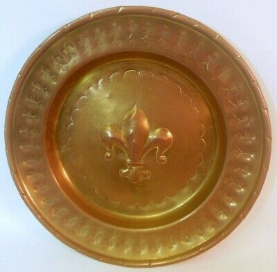Vtg ART Wall Hanging Brass Plate Plaque FLEUR de LIS French Florentine Italy
