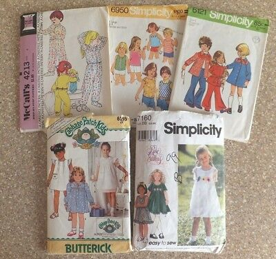 5 Vintage Children's Sewing Patterns Including Cabbage Patch & Pj's - Size 5-6