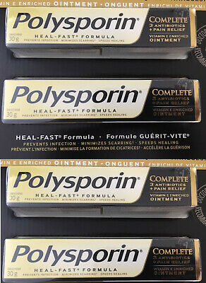 4 x 30g Polysporin Complete 3 Antibiotic Ointment & Pain Relief Heal Fast Formul