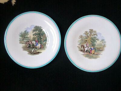 Pair 19th Century / Victorian G L Ashworth plates with scenic designs