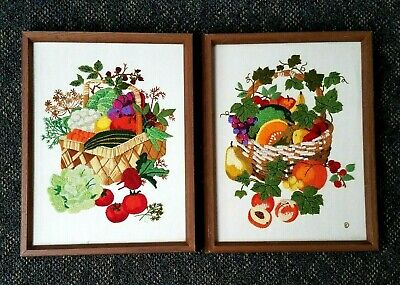 Vintage Pair Needlework Pictures Framed Embroidery Crewel Linen Wool Signed