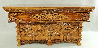 "Antique/Vtg Chinese 20"" Carved Wood Dragon Pheonix Folding Display or Wall Shelf"