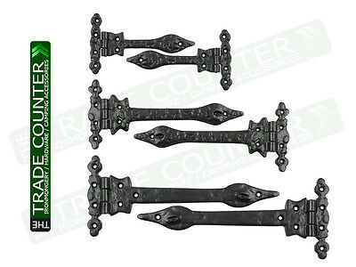 Spear Hinges Cast Iron Black Antique Vintage Traditional Leaf Door Gate Pair Of