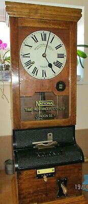 National time recorder time piece clock clocking in factory clock antique
