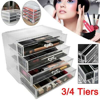 Clear Jewelry Cosmetic Organizer 3 or 4 Drawer Makeup Case Storage Holder Box