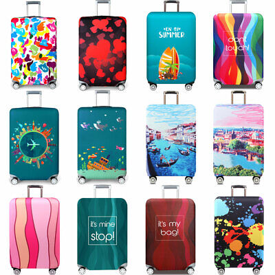 "18""-32"" Printed Travel Suitcase Cover Dustproof Elastic Luggage Cover Protector"