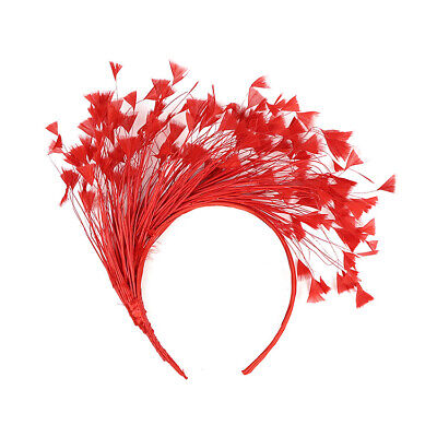 Red Feather Fascinator/Crown/Tiara On Satin Headband, Spring Races,Wedding