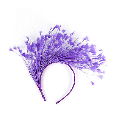 Purple Feather Fascinator/Crown/Tiara On Satin Headband, Spring Races,Wedding