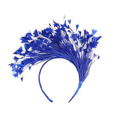 Blue Feather Fascinator/Crown/Tiara On Satin Headband, Spring Races,Wedding