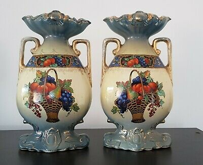 Twin Victorian 19th century antique vases. England with markings and numbers