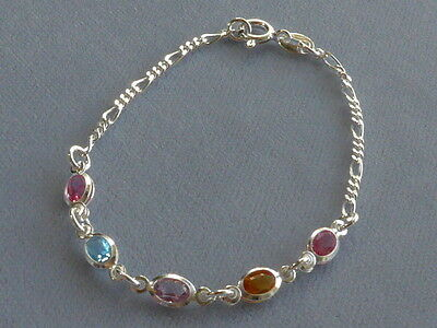"""7"""" Italian Sterling Silver Bracelet Figaro+Multicolor Oval Crystals -New"""