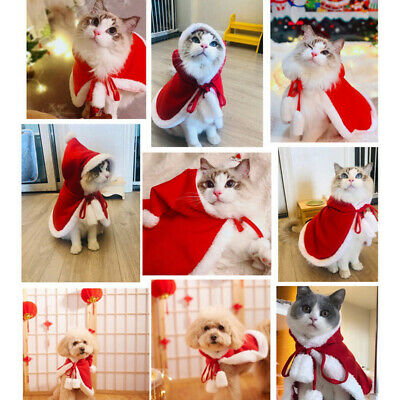 Hooded Cloak Christmas Cute Pet Clothing Cat Dog Red Costumes Dress-up Plush Hat