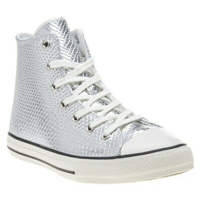 New Girls Converse Silver All Star Hi Platform Leather Trainers Canvas Lace Up