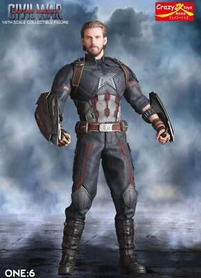 Crazy Toys 1/6 Scale Civil War Captian America Collectible Figure Statue 12 Inch