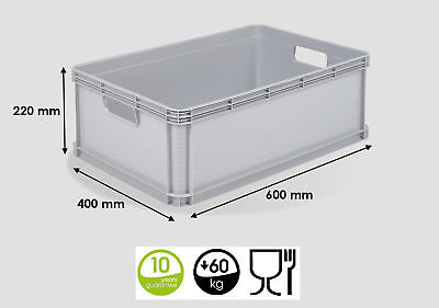 3 x 45 Ltr Heavy Duty Plastic Stacking Euro Storage Containers Boxes Crates GREY