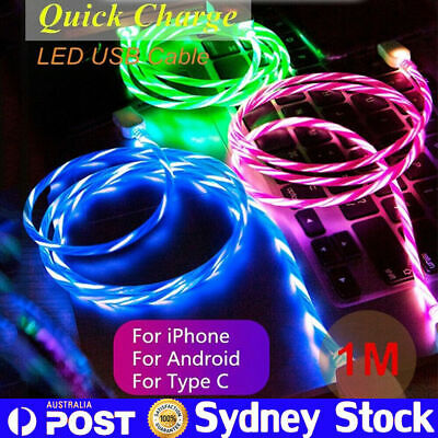 LED Flowing Light Up USB Charger Cable Sync Charging Cord For iPhone XS 8 TYPE C
