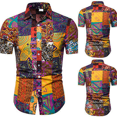 Men's Hawaiian Slim Fit Casual Shirts Summer Holiday Beach Party T Shirt Tee Top