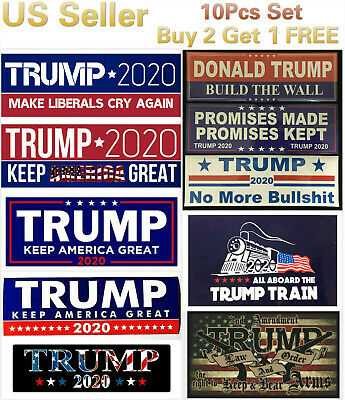 10 pcs Set Donald Trump Bumper Stickers 2020 Keep America Great Train Sticker