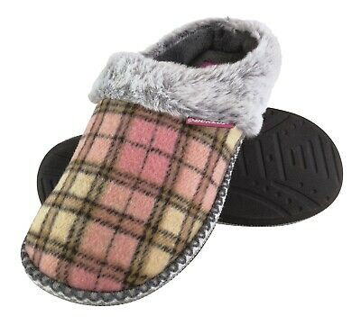 DUNLOP - Womens Cute Soft Comfy Indoor Memory Foam House Knit Slippers Mules