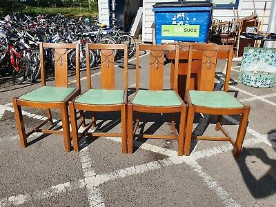 Old / Vintage Oak and fabric Dining Chairs 1930's