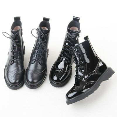 Womens Ladies Fashion Patent Leather Lace Up Brogue Biker Ankle Boots Shoes