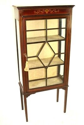 Antique Edwardian Inlaid Display Cabinet [5473]
