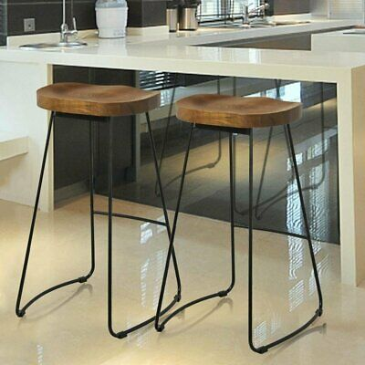 72cm Set of 2 Wooden Industrial Bar Stools & Kitchen Breakfast High Chair 8P