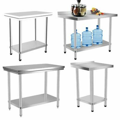 Commercial Stainless Steel Work Bench Kitchen Catering Table Top JN