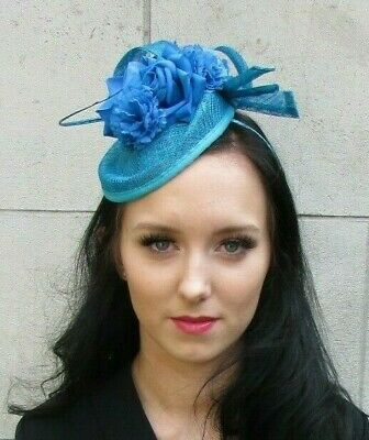 Teal Turquoise Blue Flower Hat Fascinator Headband Floral Sinamay Feather 7401
