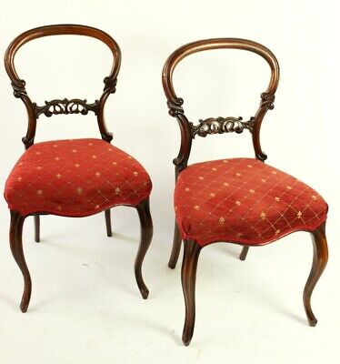 A Pair of Antique Mahogany Balloon Back Chairs - FREE Shipping [5475]