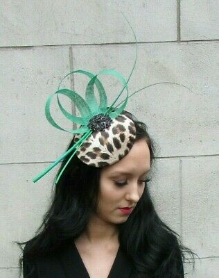 Emerald Green Black Feather Leopard Animal Print Hat Fascinator Races Hair 7404