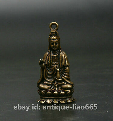 40MM Curio China Bronze Buddhism Kwan-yin GuanYin Hold Vase Small Statue Pendant