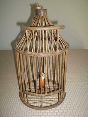 GOLD WOOD & Wire Decorative Bird Cage Hang or Tabletop Home