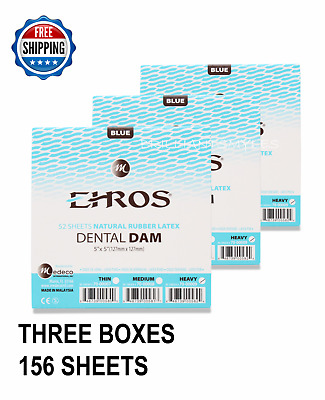 "3 BOXES Dental Endodontic Rubber Dam Latex HEAVY Gauge 5""x5"" Blue - 52/box EROS"