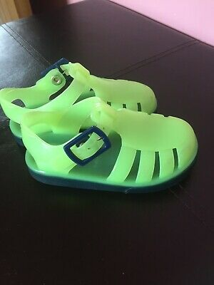 Infant Boys Size 4 NEXT Rubber Sandals Water Shoes Bright Green Blue Soles
