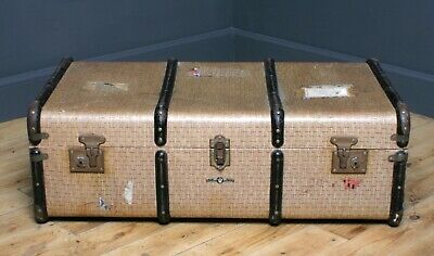 Attractive Large Vintage Wood Bound Chest Storage Shipping Trunk